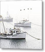 Three Boats Moored In Soft Morning Fog  Metal Print