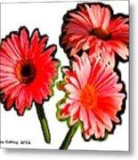 Three Bright Red Flowers Metal Print