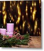 Three Candles In An Advent Flower Arrangement Metal Print