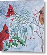 Three Cardinals In The Snow With Holly Metal Print