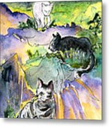 Three Cats On The Penon De Ifach Metal Print