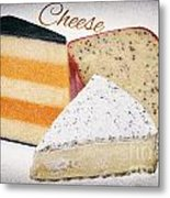 Three Cheese Wedges Distressed Text Metal Print
