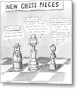 Three Chess Pieces Are Seen On A Chess Board Metal Print