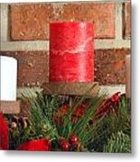 Three Christmas Candles Metal Print by Kenneth Sponsler