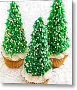 Three Christmastree Cupcakes  Metal Print