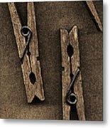 Three Clothes Pins Metal Print