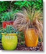 Three Colorful Pots Metal Print