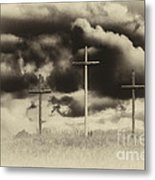 Three Crosses Sepia Metal Print