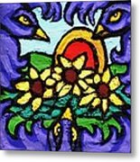 Three Crows And Sunflowers Metal Print by Genevieve Esson