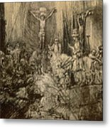 Three Crucifixes Metal Print by Rembrandt Harmenszoon van Rijn