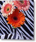 Three Daises In Striped Vase Metal Print