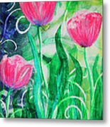 Three Dancing Tulips Metal Print
