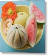 Three Different Melons In Bowl (overhead View) Metal Print