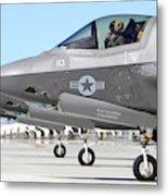 Three F-35b Lightning IIs At Marine Metal Print