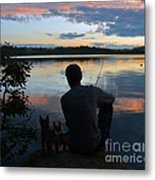 Three Fishing One Pole Metal Print