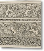 Three Friezes With Leaf Tendrils, Anthonie De Winter Metal Print