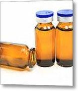 Three Glass Bottles With Medicine Metal Print