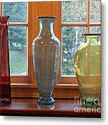 Three Glass Vases In A Window Metal Print