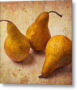 Three Golden Pears Metal Print