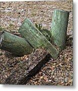 Three Green Logs Metal Print