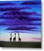 Three Jiraffes Metal Print