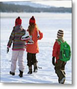 Three Kids Heading Out To Ice Skate Metal Print