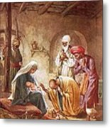 Three Kings Worship Christ Metal Print by William Brassey Hole