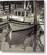 Three Little Boats Sepia Metal Print