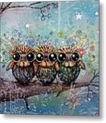 Three Little Night Owls Metal Print