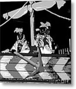 Three Maskers In  Black And White Metal Print