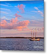 Three Masted Schooner At Anchor In The St Marys River Metal Print