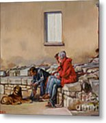 Three Men With A Dog Metal Print
