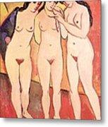 Three Naked Girls Metal Print