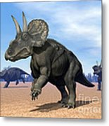 Three Nedoceratops In The Desert Metal Print