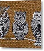 Three Owls On A Branch Leopard Print Metal Print