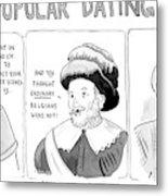 Three Panel Cartoon Of Online Dating Profiles Metal Print