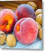 Three Peaches And Some Walnuts Metal Print