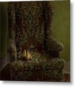 Three Pears Sitting In A Wing Chair Metal Print