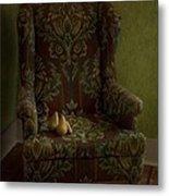 Three Pears Sitting In A Wing Chair Metal Print by Priska Wettstein