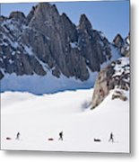 Three People Ski-tour On Karale Glacier Metal Print