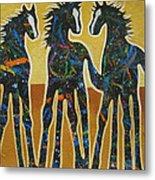 Three Ponies Metal Print by Lance Headlee