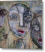 Three Portraits On Paper Metal Print