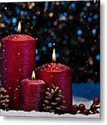 Three Red Candles In Snow  Metal Print