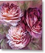 Three Roses Burgundy Greeting Card Metal Print