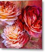 Three Roses Red Greeting Card Metal Print