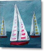Three Sailboats Metal Print