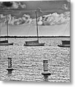 Three Sailboats Metal Print