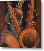 Three Sax Metal Print by Susanne Clark