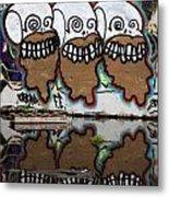 Three Skulls Graffiti Metal Print