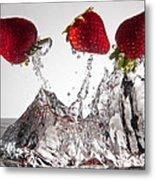 Three Strawberries Freshsplash Metal Print